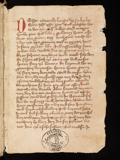 "Porrentruy, Bibliothèque cantonale jurassienne, Ms. 29 : Treatise on the passion ""Do der minnenclich got"""