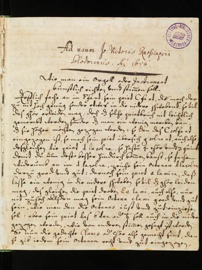 Solothurn, Zentralbibliothek, Cod. S 609 : Composite manuscript with music