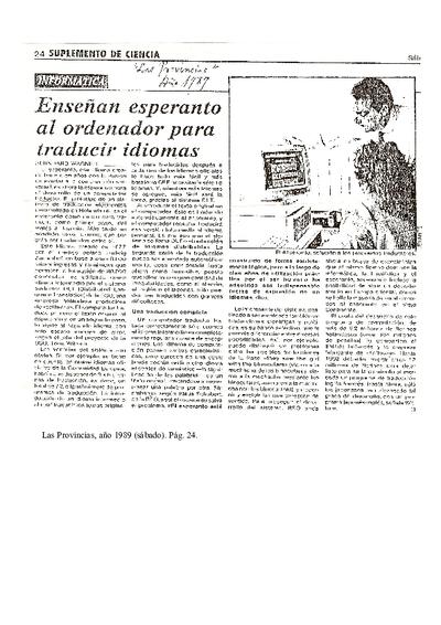Enseñan esperanto al ordenador para traducir idomas / Bernhard Wagner