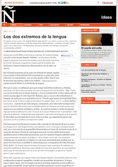 Los dos extremos de la lengua / por Michel Onfray ; traducción de Cristina Sardoy