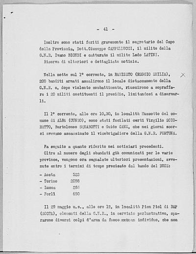 Image from object titled Notizia tratta dal Notiziario della Guardia Nazionale Repubblicana del giorno 02-06-1944