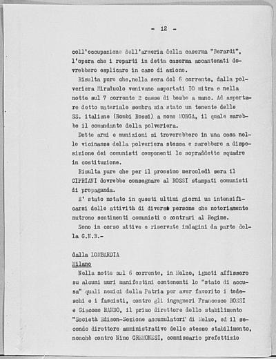 Image from object titled Notizia tratta dal Notiziario della Guardia Nazionale Repubblicana del giorno 16-06-1944
