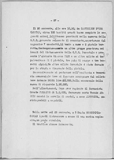 Image from object titled Notizia tratta dal Notiziario della Guardia Nazionale Repubblicana del giorno 24-06-1944
