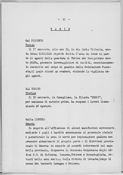 Image from object titled Notizia tratta dal Notiziario della Guardia Nazionale Repubblicana del giorno 26-06-1944
