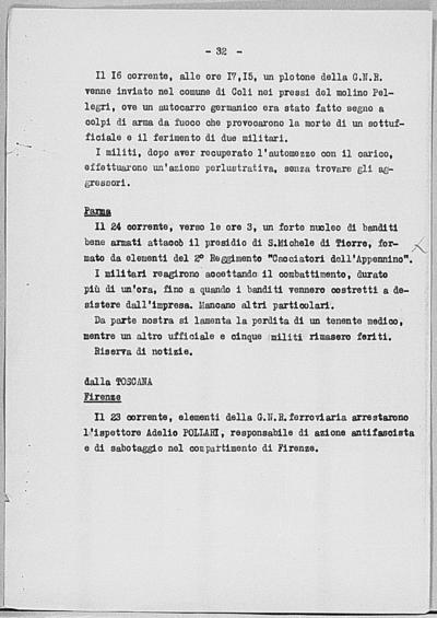 Image from object titled Notizia tratta dal Notiziario della Guardia Nazionale Repubblicana del giorno 30-06-1944