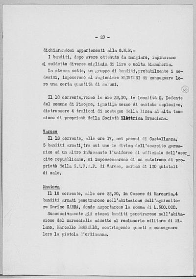 Image from object titled Notizia tratta dal Notiziario della Guardia Nazionale Repubblicana del giorno 22-07-1944