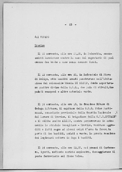Image from object titled Notizia tratta dal Notiziario della Guardia Nazionale Repubblicana del giorno 25-07-1944