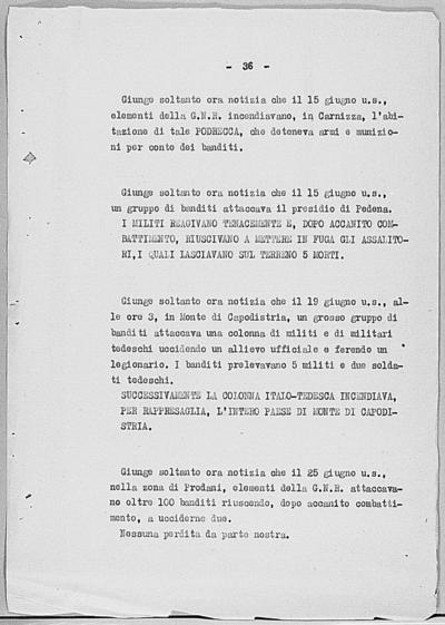 Image from object titled Notizia tratta dal Notiziario della Guardia Nazionale Repubblicana del giorno 31-07-1944