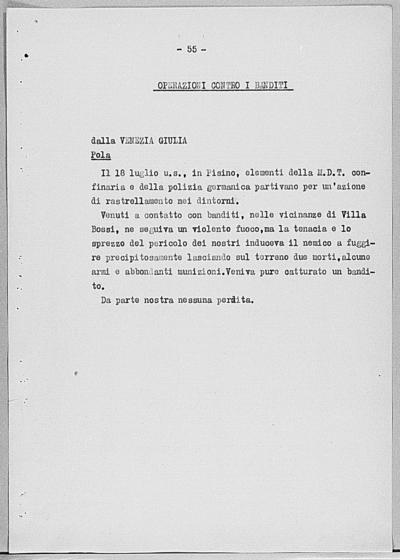 Image from object titled Notizia tratta dal Notiziario della Guardia Nazionale Repubblicana del giorno 11-08-1944