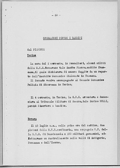 Image from object titled Notizia tratta dal Notiziario della Guardia Nazionale Repubblicana del giorno 12-08-1944