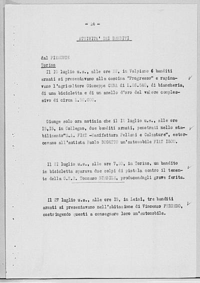 Image from object titled Notizia tratta dal Notiziario della Guardia Nazionale Repubblicana del giorno 13-08-1944
