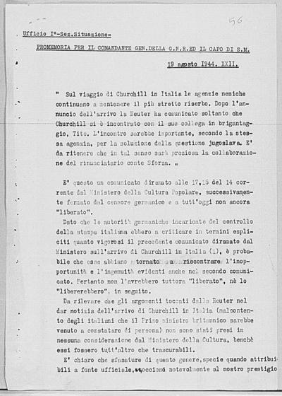 Image from object titled Notizia tratta dal Notiziario della Guardia Nazionale Repubblicana del giorno 19-08-1944