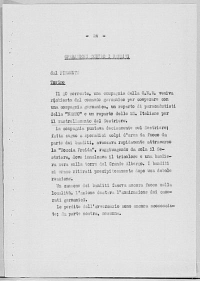 Image from object titled Notizia tratta dal Notiziario della Guardia Nazionale Repubblicana del giorno 22-08-1944