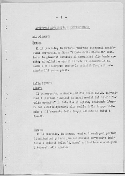 Image from object titled Notizia tratta dal Notiziario della Guardia Nazionale Repubblicana del giorno 23-08-1944