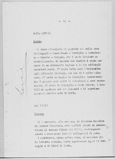 Image from object titled Notizia tratta dal Notiziario della Guardia Nazionale Repubblicana del giorno 28-08-1944