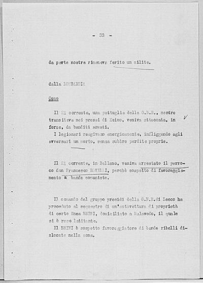 Image from object titled Notizia tratta dal Notiziario della Guardia Nazionale Repubblicana del giorno 31-08-1944