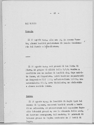 Image from object titled Notizia tratta dal Notiziario della Guardia Nazionale Repubblicana del giorno 07-09-1944