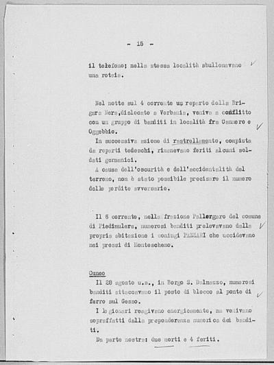 Image from object titled Notizia tratta dal Notiziario della Guardia Nazionale Repubblicana del giorno 10-09-1944