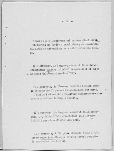 Image from object titled Notizia tratta dal Notiziario della Guardia Nazionale Repubblicana del giorno 12-09-1944