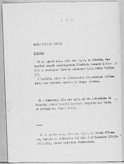 Image from object titled Notizia tratta dal Notiziario della Guardia Nazionale Repubblicana del giorno 14-09-1944
