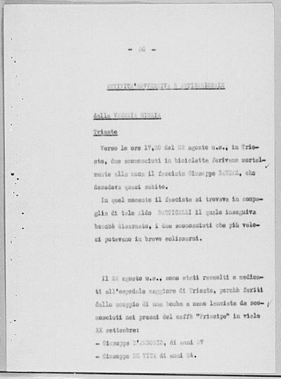 Image from object titled Notizia tratta dal Notiziario della Guardia Nazionale Repubblicana del giorno 15-09-1944