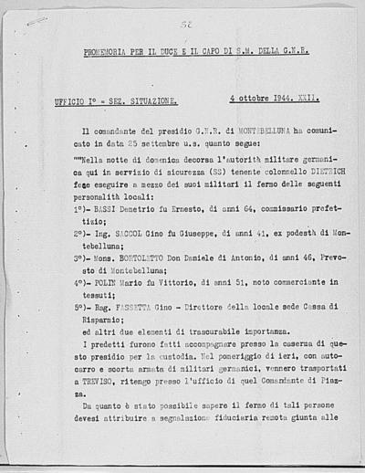 Image from object titled Notizia tratta dal Notiziario della Guardia Nazionale Repubblicana del giorno 04-10-1944
