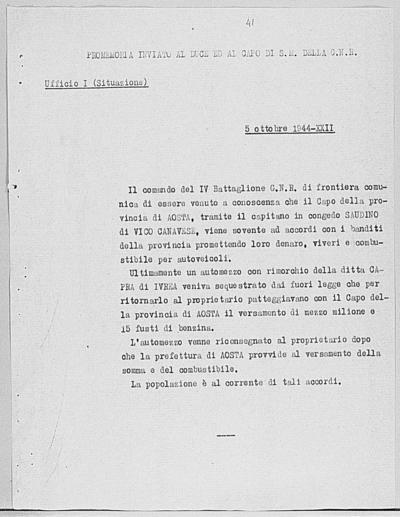 Image from object titled Notizia tratta dal Notiziario della Guardia Nazionale Repubblicana del giorno 05-10-1944