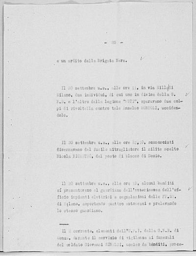 Image from object titled Notizia tratta dal Notiziario della Guardia Nazionale Repubblicana del giorno 11-10-1944