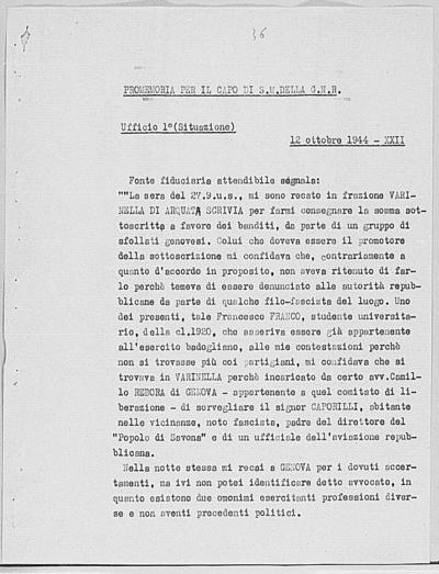 Image from object titled Notizia tratta dal Notiziario della Guardia Nazionale Repubblicana del giorno 12-10-1944