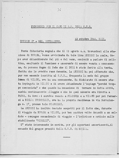 Image from object titled Notizia tratta dal Notiziario della Guardia Nazionale Repubblicana del giorno 13-10-1944
