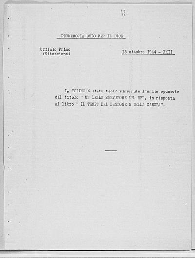 Image from object titled Notizia tratta dal Notiziario della Guardia Nazionale Repubblicana del giorno 15-10-1944
