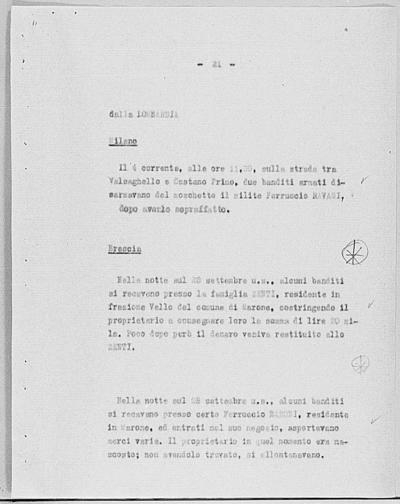 Image from object titled Notizia tratta dal Notiziario della Guardia Nazionale Repubblicana del giorno 16-10-1944
