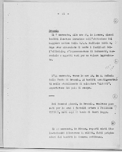 Image from object titled Notizia tratta dal Notiziario della Guardia Nazionale Repubblicana del giorno 17-10-1944
