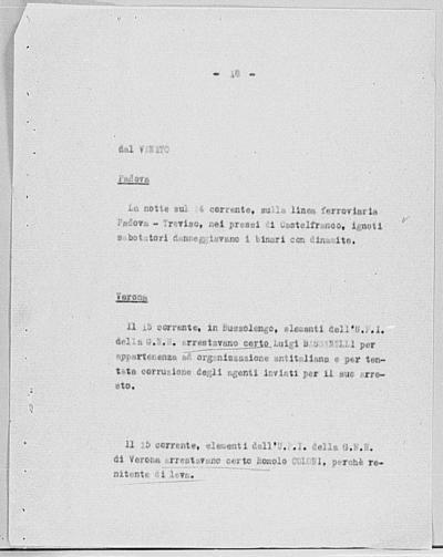 Image from object titled Notizia tratta dal Notiziario della Guardia Nazionale Repubblicana del giorno 23-10-1944