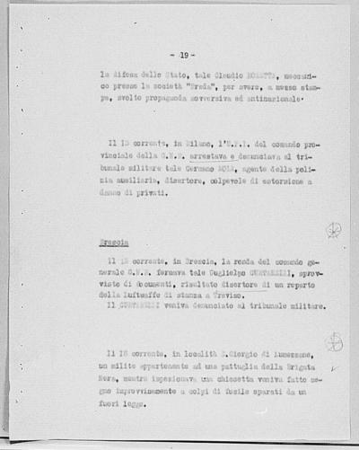 Image from object titled Notizia tratta dal Notiziario della Guardia Nazionale Repubblicana del giorno 24-10-1944