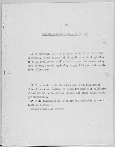 Image from object titled Notizia tratta dal Notiziario della Guardia Nazionale Repubblicana del giorno 27-10-1944