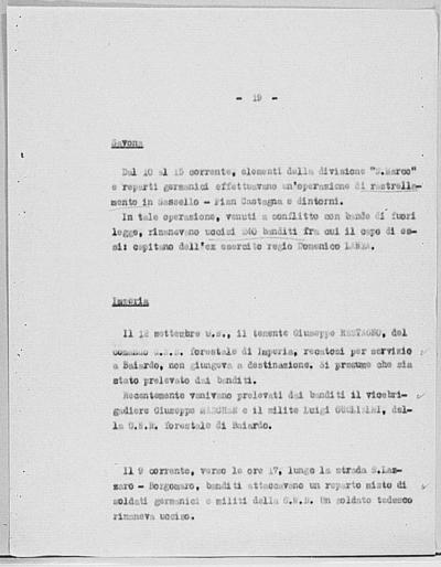 Image from object titled Notizia tratta dal Notiziario della Guardia Nazionale Repubblicana del giorno 28-10-1944