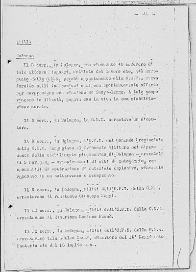 Image from object titled Notizia tratta dal Notiziario della Guardia Nazionale Repubblicana del giorno 22-12-1944