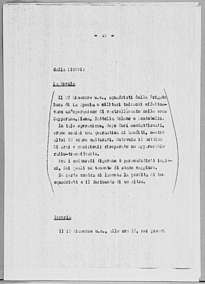 Image from object titled Notizia tratta dal Notiziario della Guardia Nazionale Repubblicana del giorno 08-01-1945