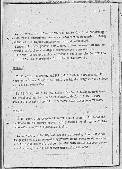 Notizia tratta dal Notiziario della Guardia Nazionale Repubblicana del giorno 30-01-1945