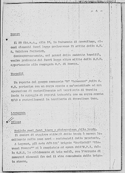Image from object titled Notizia tratta dal Notiziario della Guardia Nazionale Repubblicana del giorno 01-02-1945