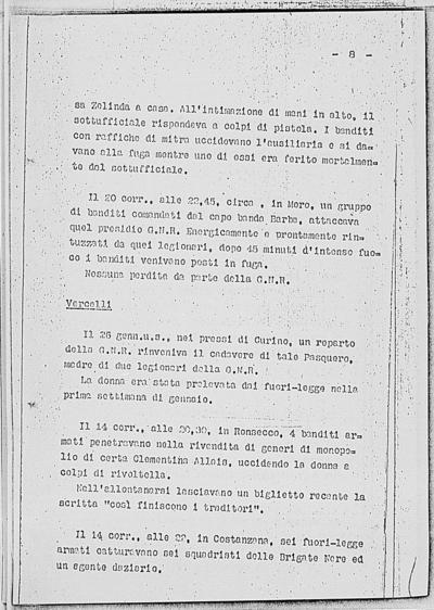 Image from object titled Notizia tratta dal Notiziario della Guardia Nazionale Repubblicana del giorno 28-02-1945