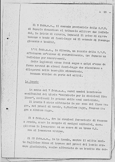 Image from object titled Notizia tratta dal Notiziario della Guardia Nazionale Repubblicana del giorno 02-03-1945