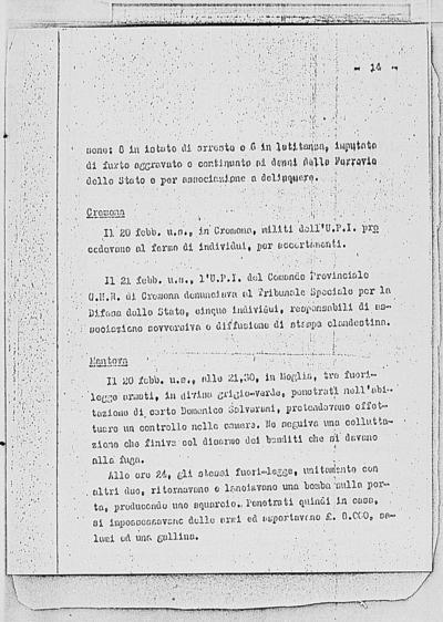 Image from object titled Notizia tratta dal Notiziario della Guardia Nazionale Repubblicana del giorno 06-03-1945