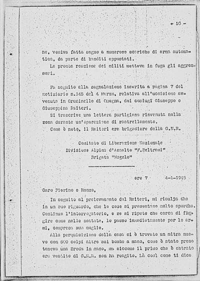 Image from object titled Notizia tratta dal Notiziario della Guardia Nazionale Repubblicana del giorno 10-03-1945
