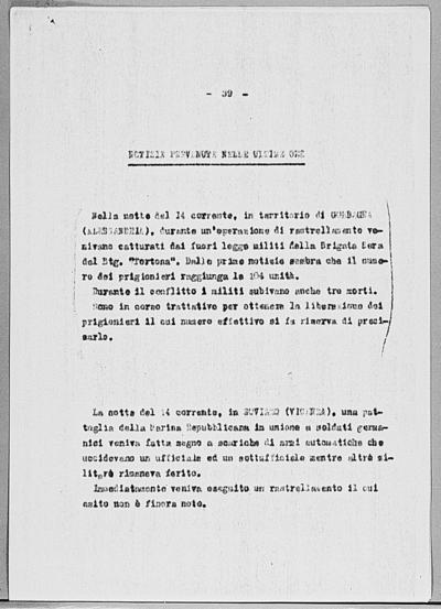 Image from object titled Notizia tratta dal Notiziario della Guardia Nazionale Repubblicana del giorno 18-03-1945