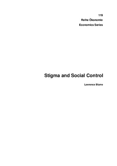 Stigma and Social Control