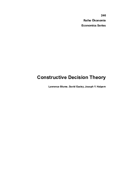 Constructive Decision Theory