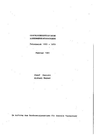 geschlechtsspezifische einkommensunterschiede; oesterreich 1953 - 1979