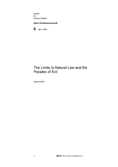 The Limits to Natural Law and the Paradox of Evil